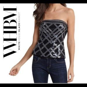 WHBM Black Silver Sequin Bustier Corset Size 8